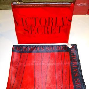 Victoria's Secret Logo Scarf + Cosmetic Case- NWTs